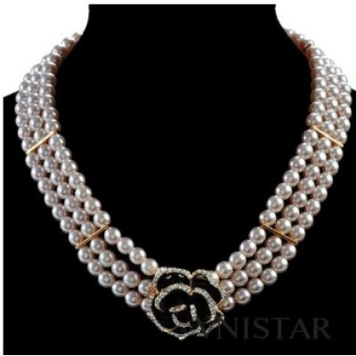 Free shipping! Vnistar pearl necklace with flower pendant XL152, sold in 2pcs per pack