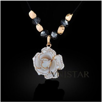 Free shipping! Vnistar gold plated flower pendant necklace XL146, sold in 2pcs per pack