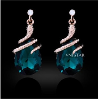Free shipping! Crystal earrings, snake pendant dangle earring, teardrop crystal, VE409, size in 15*32mm, sold in 2prs per pack