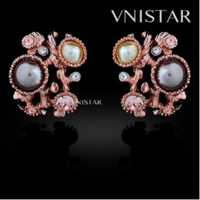Free shipping! Earrings, fashion stud earrings, pearl earring, VE441, size in 19*22mm, sold in 2prs per pack