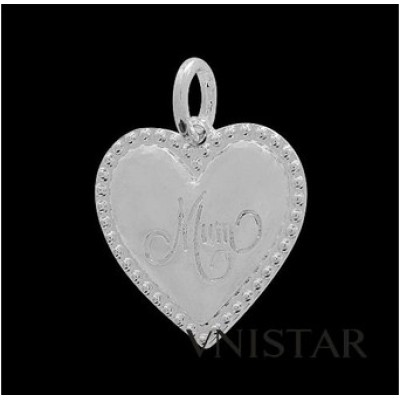 Free shipping! Wholesale rhodium plated heart charms UC309 with mum stamped,sold in 15 pcs per pack