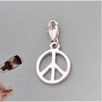 Free shipping! Wholesale silver plated peace sign shaped clasp charm HCC039-4,sold in 20 pcs per pack
