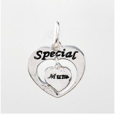 Free shipping! Wholesale silver plated heart charms UC308 with Special and Mum stamped, sold in 15pcs per pack