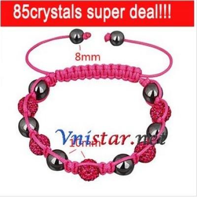 Free shipping! Wholesale fushcia crystal stones beads macrame bracelet SBB200-7, sold in 2pcs per pack