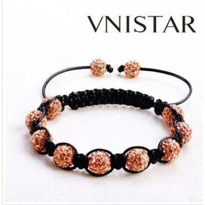 Free shipping! Wholesale light peach crystal stones beads macrame bracelet SBB236-8, sold in 2pcs per pack