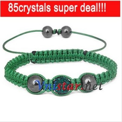 Free shipping! Wholesale emerald crystal stones beads macrame bracelet SBB205-7, sold in 2pcs per pack