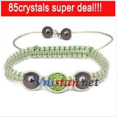 Free shipping! Wholesale peridot crystal stones beads macrame bracelet SBB205-6, sold in 2pcs per pack