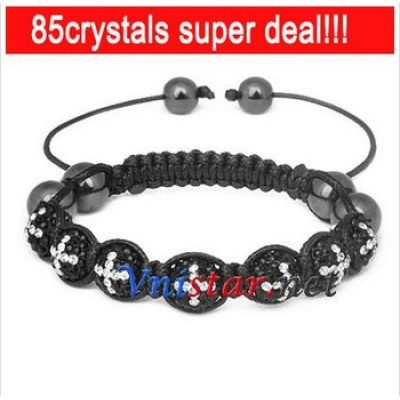 Free shipping! Wholesale jet crystal stone with clear cross pattern beads macrame bracelet SBB067-42, sold in 2pcs per pack