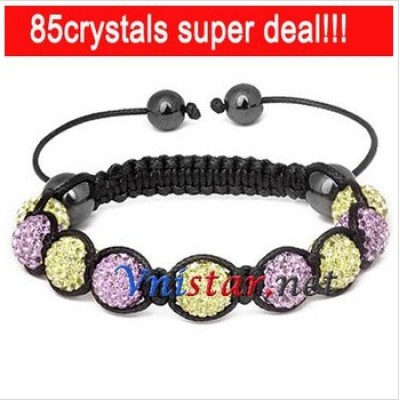 Free shipping! Wholesale jonquil and violet crystal stone beads macrame bracelet SBB089-26, sold in 2pcs per pack