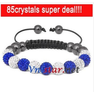 Free shipping! Wholesale clear and sapphire crystal stone beads macrame bracelet SBB088-25, sold in 2pcs per pack