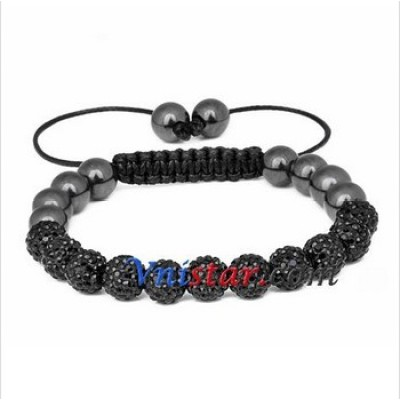Free shipping! Wholesale 8mm jet crystal stone beads macrame bracelet SBB294-4, sold in 2pcs per pack