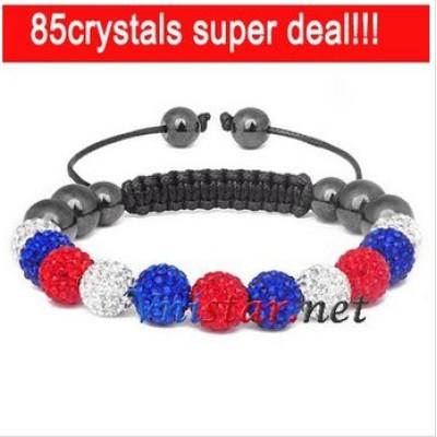 Free shipping! Wholesale 11pcs crystal stone beads macrame bracelet SBB088-24, sold in 2pcs per pack