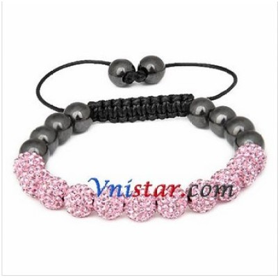 Free shipping! Wholesale 8mm light rose crystal stone beads macrame bracelet SBB294-1, sold in 2pcs per pack