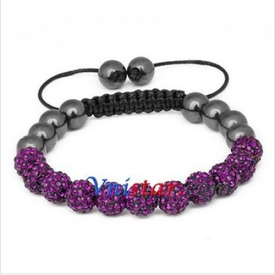 Free shipping! Wholesale 8mm amethyst crystal stone beads macrame bracelet SBB294-2, sold in 2pcs per pack
