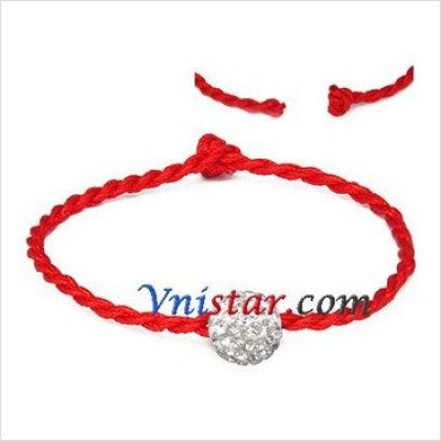 Free shipping! Wholesale vnistar one 10mm clear crystal stone bead macrame bracelet SBB290-2, sold in 5pcs per pack