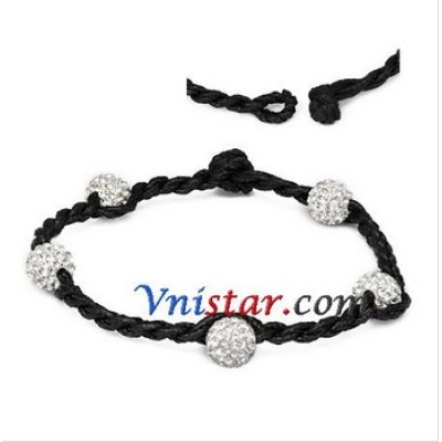 Free shipping! Wholesale vnistar 8mm clear crystal stone beads macrame bracelet SBB289-2, sold in 2 pcs per pack