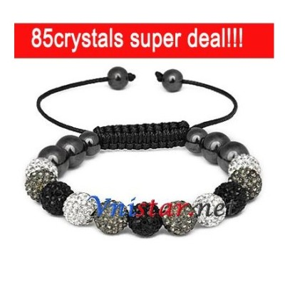Free shipping! Wholesale clear, gray and jet crystal stone beads macrame bracelet SBB088-23, shamballa bracelet , sold in 2 pcs per pack