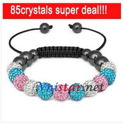 Free shipping! Wholesale 11pcs crystal stone beads macrame bracelet SBB088-22 , sold in 2 pcs per pack