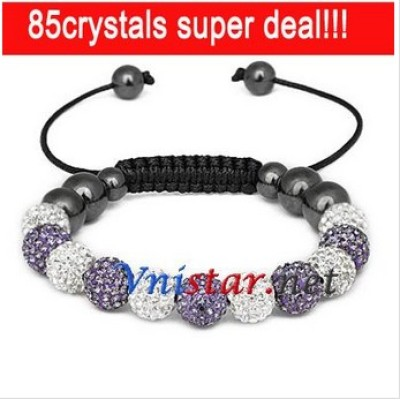 Free shipping! Wholesale clear and tanzanite crystal stone beads macrame bracelet SBB088-21 , sold in 2 pcs per pack