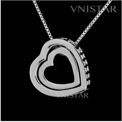 Free shipping! Necklaces, heart pendant necklace, clear rhinestones, VN045, pendant size 17*17mm, sold in 2 pcs per pack