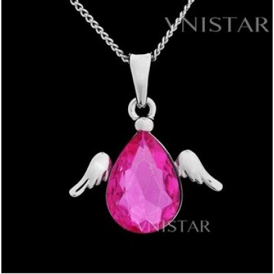 Free shipping! Necklaces, fashion crystal necklace, angel wing pendant, teardrop crystal, VN044, pendant size 21*25mm, sold in 2 pcs per pack