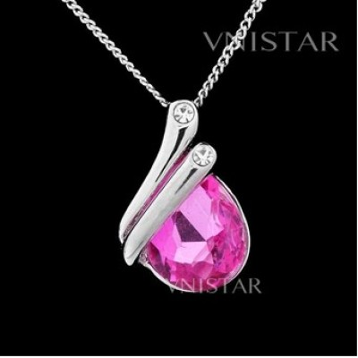 Free shipping! Necklaces, fashion crystal necklace, teardrop crystal, VN042, pendant size 13*20mm, necklace for women, sold in 2 pcs per pack