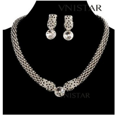 Free shipping! Vnistar snake jewelry sets, necklace and stud earring, round crystal, VN339, earring size 15*35mm , sold in 1set per pack