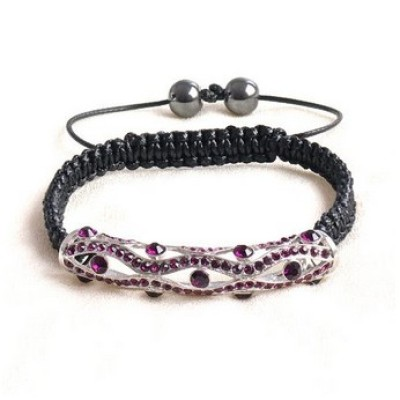 Free shipping! Wholesale macrame bracelets SBB329-4 with purple stones ,  sold in 2pcs per pack
