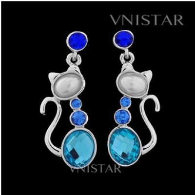 Free shipping! Earrings, crystal dangle earring, cat pendant, oval crystal and pearl, VE141, size in 14*39mm, sold in 2prs per pack