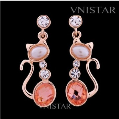 Free shipping! Earrings, crystal dangle earring, cat pendant, oval crystal and pearl, VE141-G, size in 14*39mm, sold in 2prs per pack