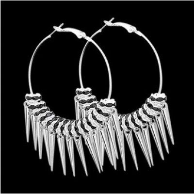 Free shipping! Silver plated hoop earrings, spike earring, BWE013-5, dia in 50mm, sold in 2prs per pack