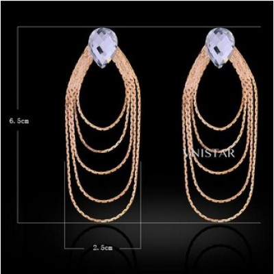 Free shipping! Fashion crystal earrings, chain tassel drop earring, teardrop crystal, VE406, size in 25*65mm, sold in 2prs per pack
