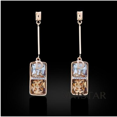 Free shipping! Fashion dangle earrings, square crystal, letter D charm, VE359, size in 13*60mm, sold in 2prs per pack