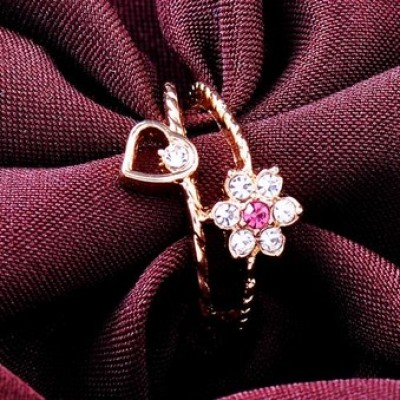 Free shipping! Fashion jewelry rings, flower and heart ring, JZ101, unadjustable size, sold in 5pcs per pack
