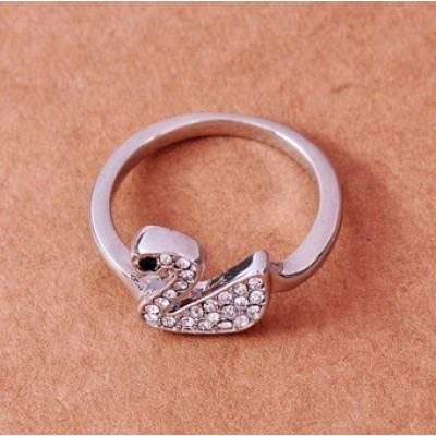Free shipping! Fashion jewelry rings, swan ring, animal ring, JZ122, unadjustable size, sold in 5pcs per pack