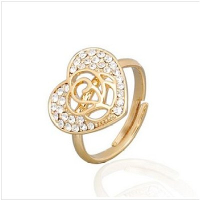 Free shipping! Fashion jewelry rings, heart ring with rose flower, JZ196, adjustable size, sold in 10pcs per pack