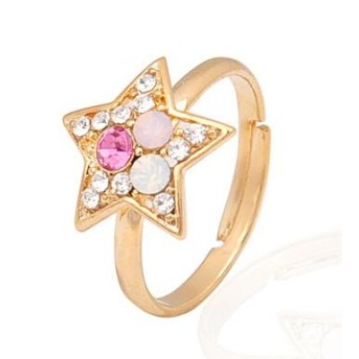 Free shipping! Fashion jewelry rings, star ring with stones, JZ189, adjustable size, sold in 10pcs per pack