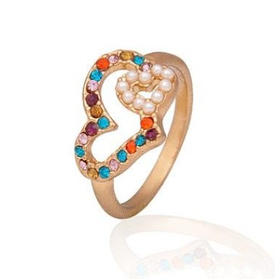 Free shipping! Fashion jewelry rings, hearts ring with pearls, JZ014, unadjustable, sold in 10pcs per pack