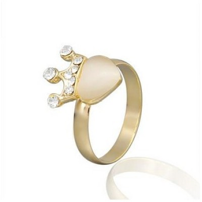 Free shipping! Fashion rings, heart ring with crown, heart cat eye stone, JZ205, unadjustable, sold in 10pcs per pack