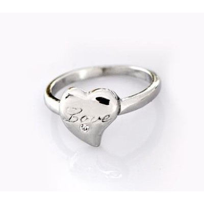 Free shipping! Fashion rings, heart ring, Love stamped, clear stone, JZ124, unadjustable, sold in 10pcs per pack