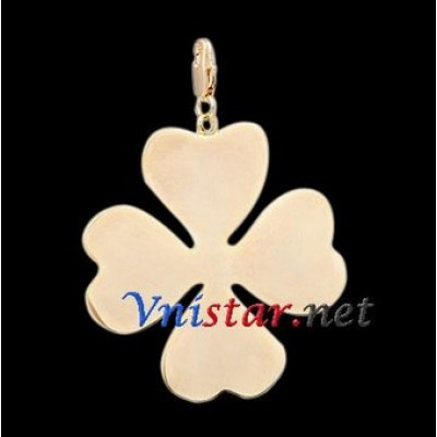 Free shipping! Wholesale high quality real 18k gold plated clasp charms HCC258-1 with clover pendant, sold in 5pcs per pack