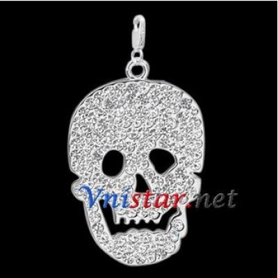 Free shipping! Wholesale high quality double silver plated skull clasp charms HCC264-1 with clear stones, sold in 5pcs per pack