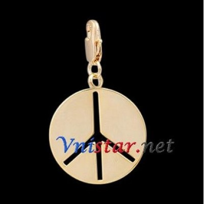 Free shipping! Wholesale high quality real 18k gold plated peace sign clasp charms HCC278-2, sold in 5pcs per pack