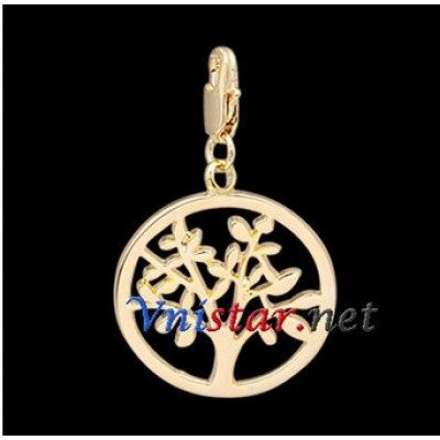 Free shipping! Wholesale high quality real 18k gold plated clasp charms HCC276-2 with tree pendant, sold in 5pcs per pack