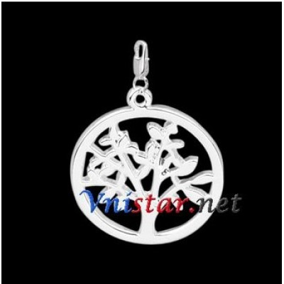 Free shipping! Wholesale high quality double silver plated clasp charms HCC276-1 with tree pendant, sold in 5pcs per pack