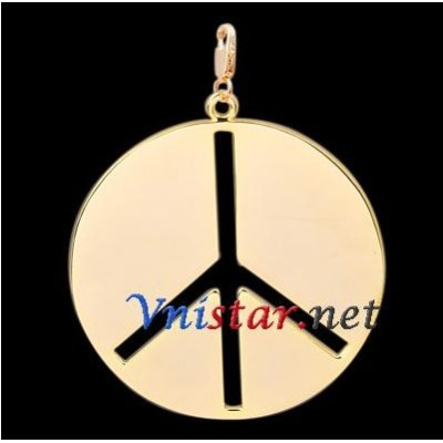 Free shipping! Wholesale high quality real 18k gold plated peace sign clasp charms HCC275-2, sold in 2pcs per pack