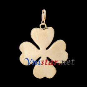 Free shipping! Wholesale high quality real 18k gold plated clasp charms HCC261-1 with clover pendant, sold in 5pcs per pack