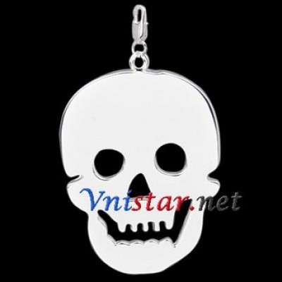 Free shipping! Wholesale high quality double silver plated clasp charms HCC257-1 with skull pendant, sold in 3pcs per pack