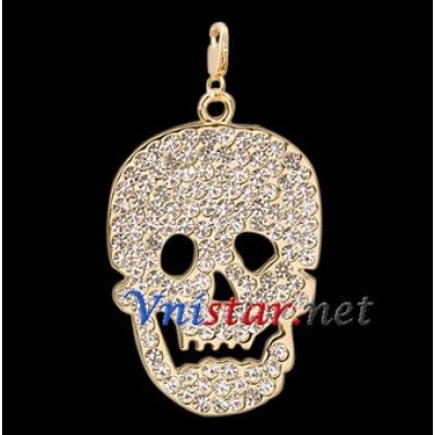 Free shipping! Wholesale high quality real 18k gold plated skull clasp charms HCC264 with clear stones, sold in 3pcs per pack