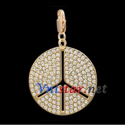Free shipping! Wholesale real 18k gold plated peace sign clasp charms HCC262-2 with clear stones, sold in 2pcs per pack